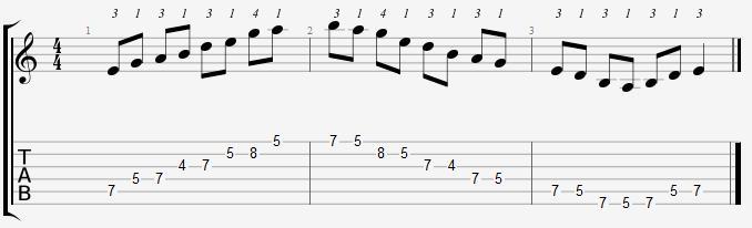 پوزسیون چهارم گام می مینور پنتاتونیک